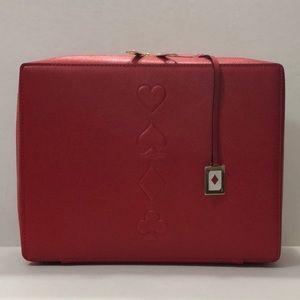 Estée Lauder red cosmetic travel case